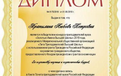 Любовь Храпылина внесена в список «Золотые Имена Высшей Школы».